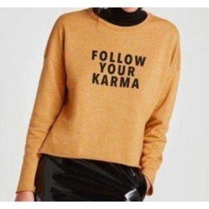 """Zara """"Follow Your Karma"""" Oversized Sweatshirt Sz L"""